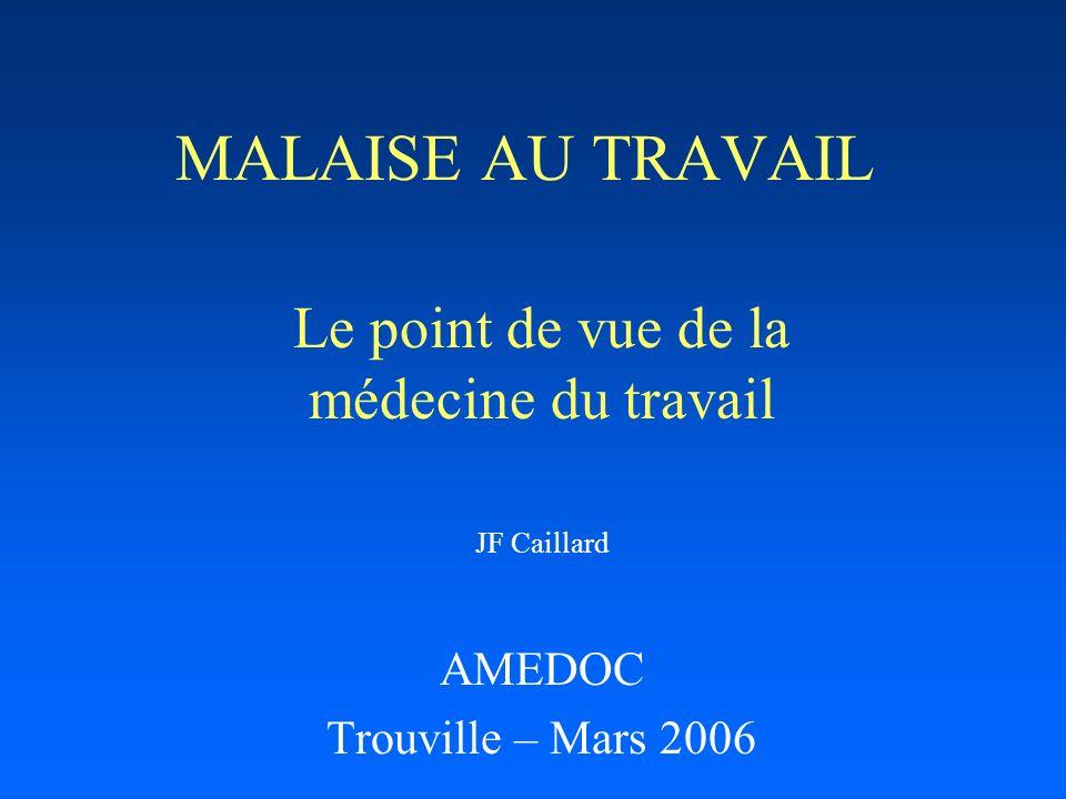 MALAISE AU TRAVAIL Le point de vue de la médecine du travail JF Caillard AMEDOC Trouville – Mars 2006