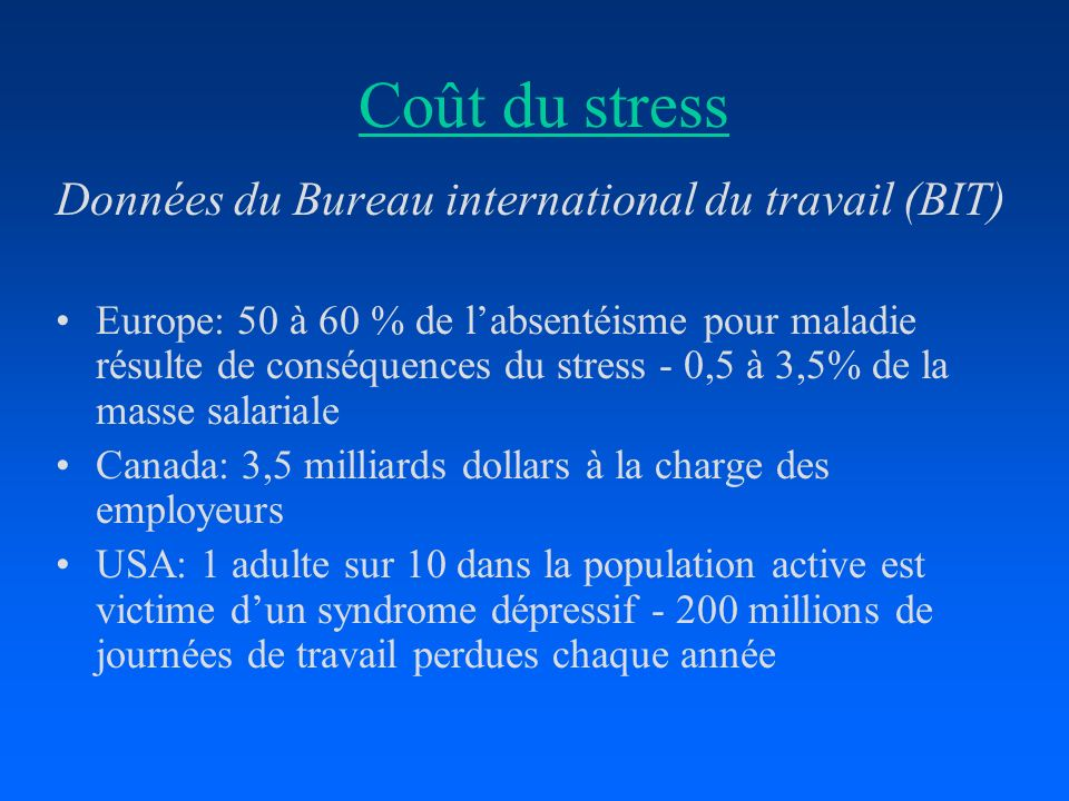 Coût du stress Données du Bureau international du travail (BIT) Europe: 50 à 60 % de labsentéisme pour maladie résulte de conséquences du stress - 0,5