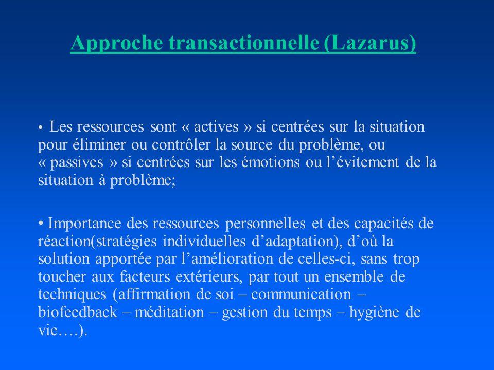 Approche transactionnelle (Lazarus) Les ressources sont « actives » si centrées sur la situation pour éliminer ou contrôler la source du problème, ou