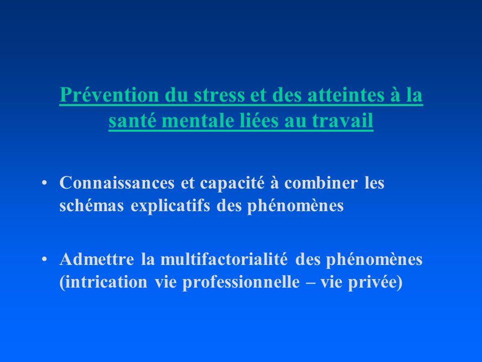 Prévention du stress et des atteintes à la santé mentale liées au travail Connaissances et capacité à combiner les schémas explicatifs des phénomènes