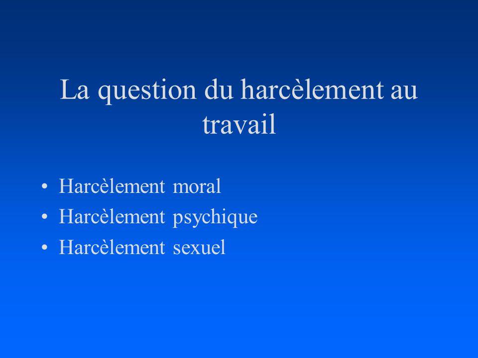 La question du harcèlement au travail Harcèlement moral Harcèlement psychique Harcèlement sexuel