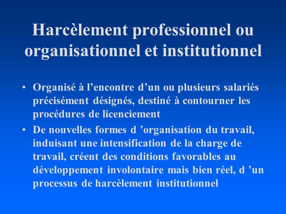 Harcèlement professionnel ou organisationnel et institutionnel Organisé à lencontre dun ou plusieurs salariés précisément désignés, destiné à contourn