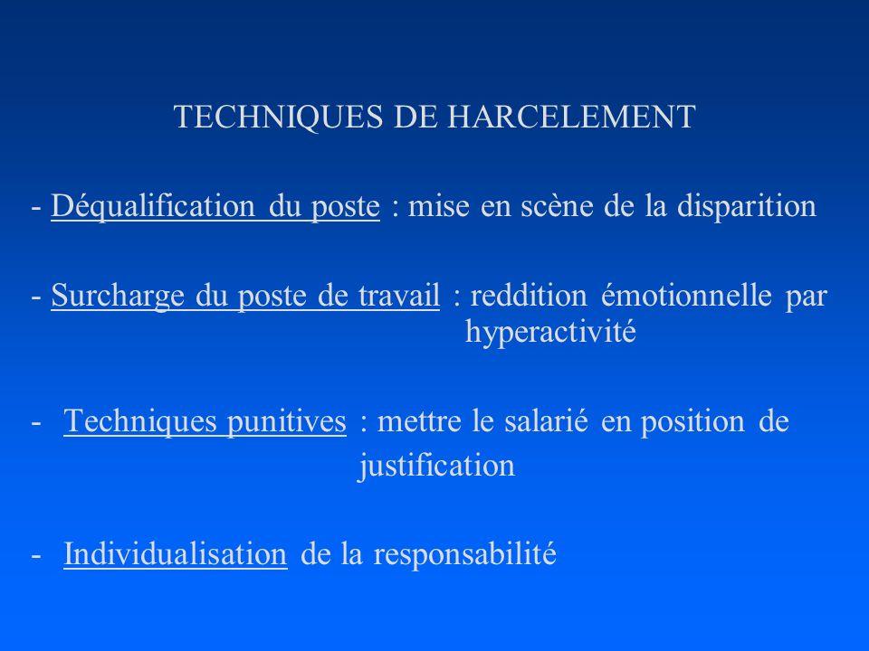TECHNIQUES DE HARCELEMENT - Déqualification du poste : mise en scène de la disparition - Surcharge du poste de travail : reddition émotionnelle par hy