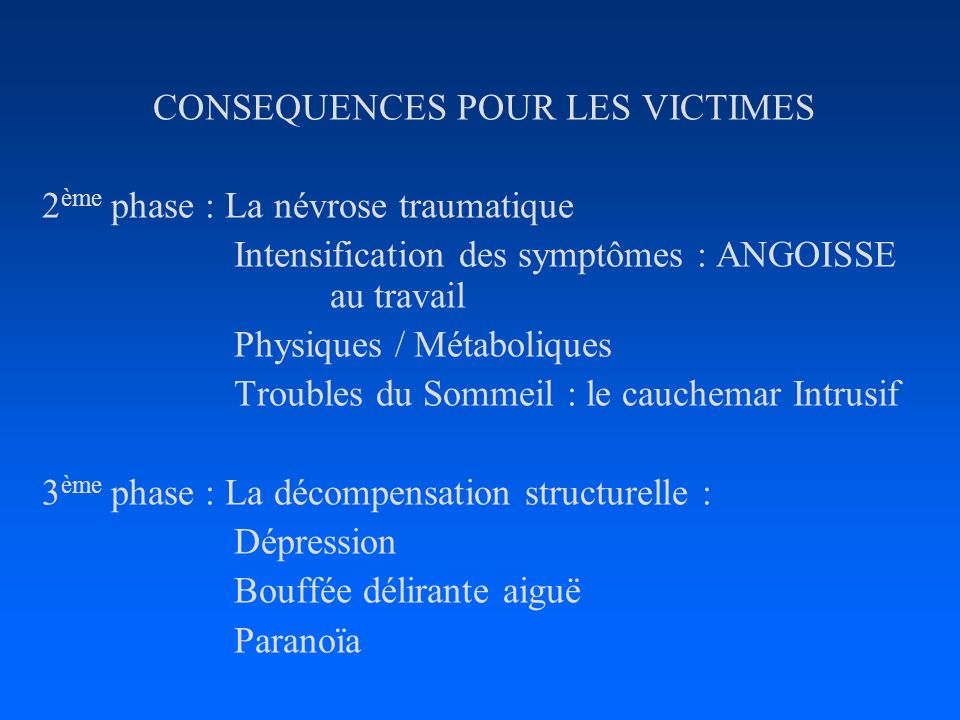 CONSEQUENCES POUR LES VICTIMES 2 ème phase : La névrose traumatique Intensification des symptômes : ANGOISSE au travail Physiques / Métaboliques Troub