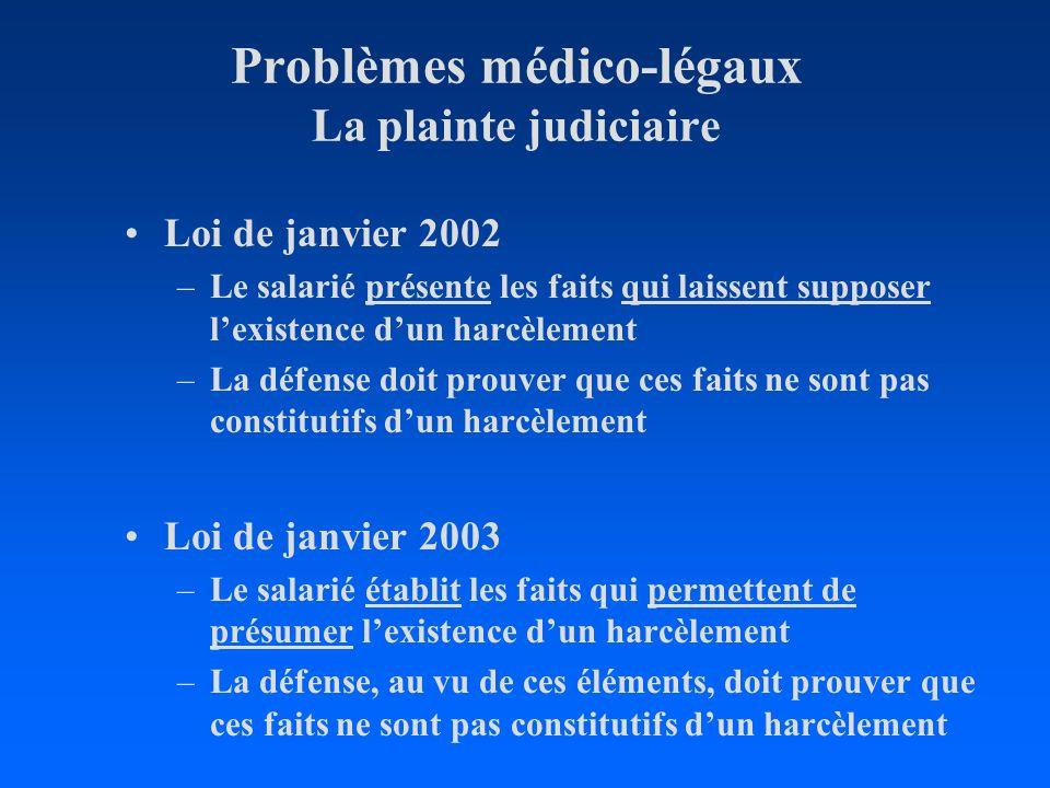Problèmes médico-légaux La plainte judiciaire Loi de janvier 2002 –Le salarié présente les faits qui laissent supposer lexistence dun harcèlement –La