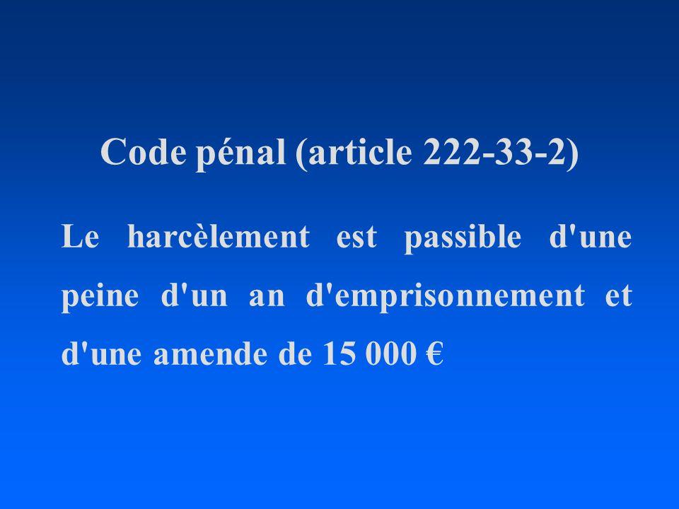 Code pénal (article 222-33-2) Le harcèlement est passible d'une peine d'un an d'emprisonnement et d'une amende de 15 000
