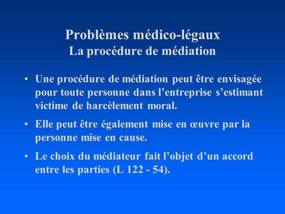 Problèmes médico-légaux La procédure de médiation Une procédure de médiation peut être envisagée pour toute personne dans lentreprise sestimant victim