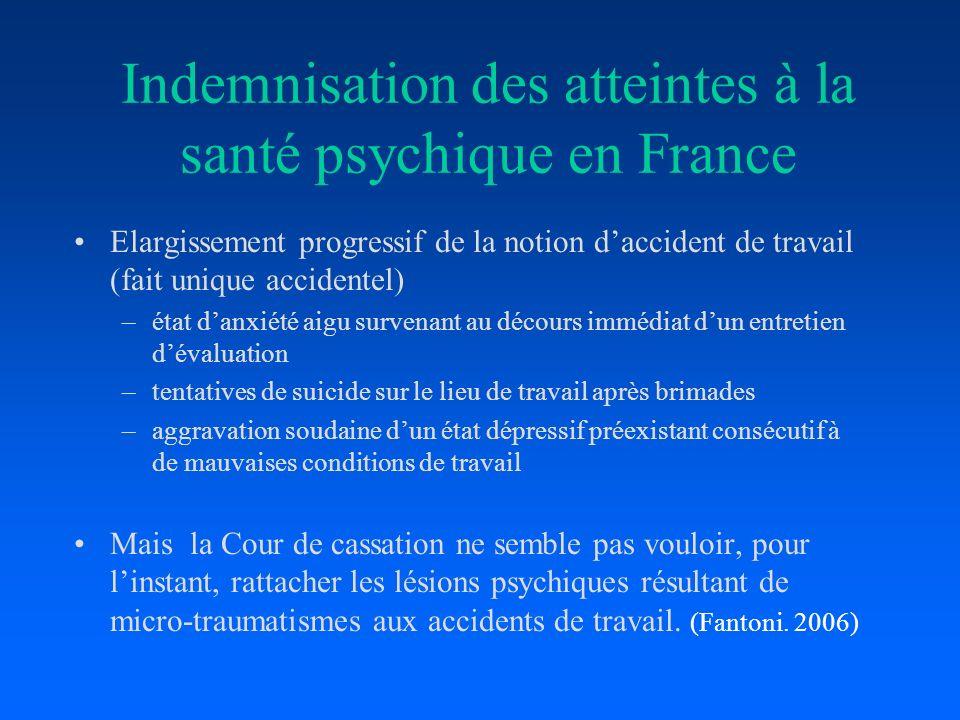 Indemnisation des atteintes à la santé psychique en France Elargissement progressif de la notion daccident de travail (fait unique accidentel) –état d
