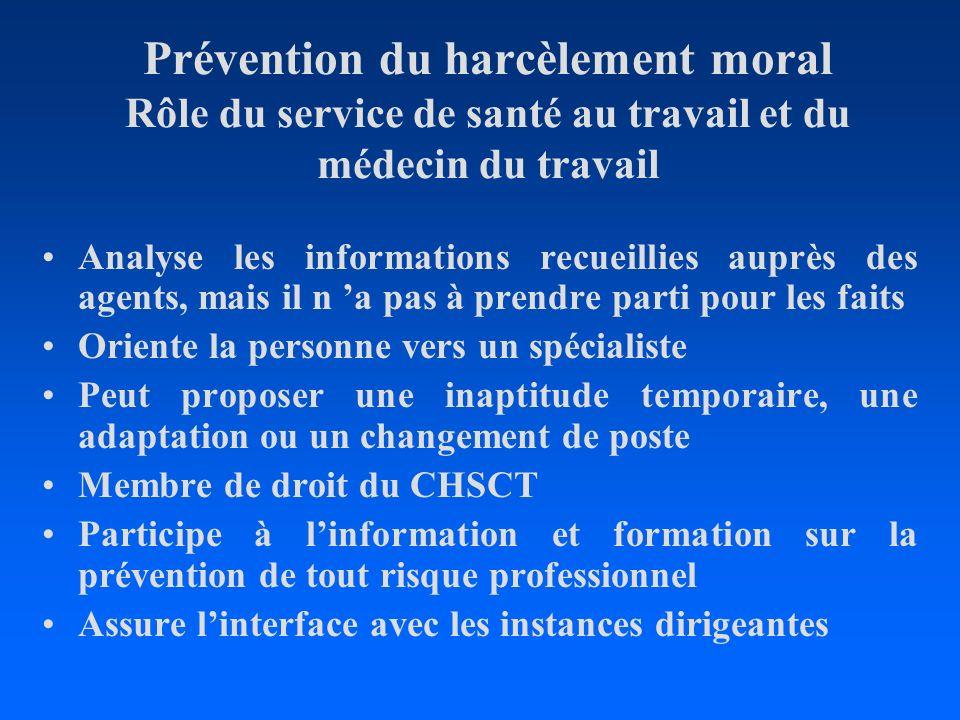 Prévention du harcèlement moral Rôle du service de santé au travail et du médecin du travail Analyse les informations recueillies auprès des agents, m