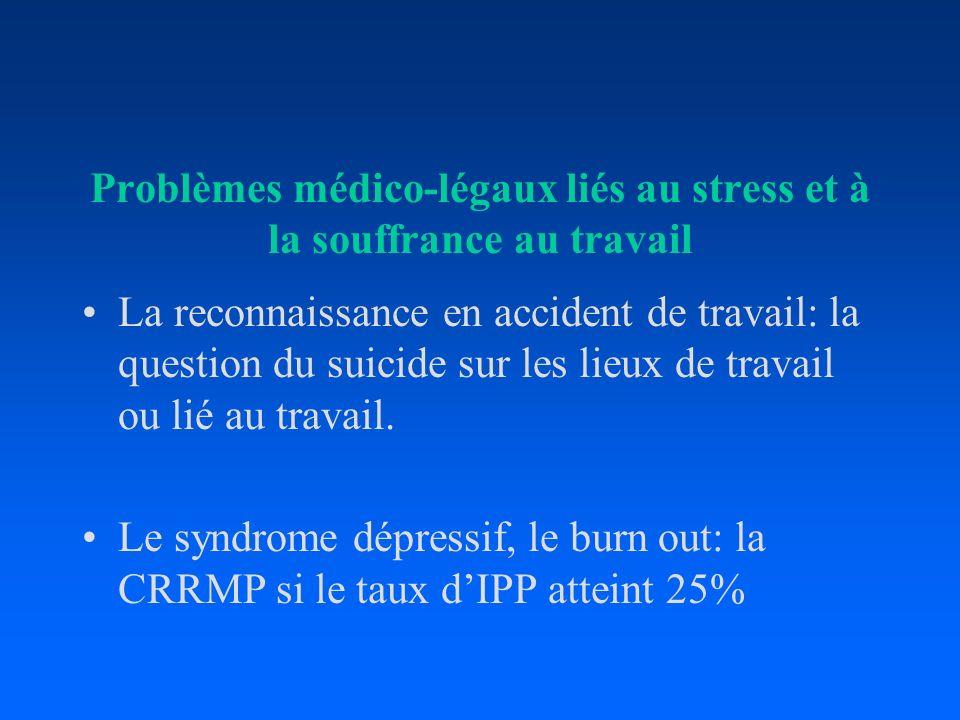 Problèmes médico-légaux liés au stress et à la souffrance au travail La reconnaissance en accident de travail: la question du suicide sur les lieux de