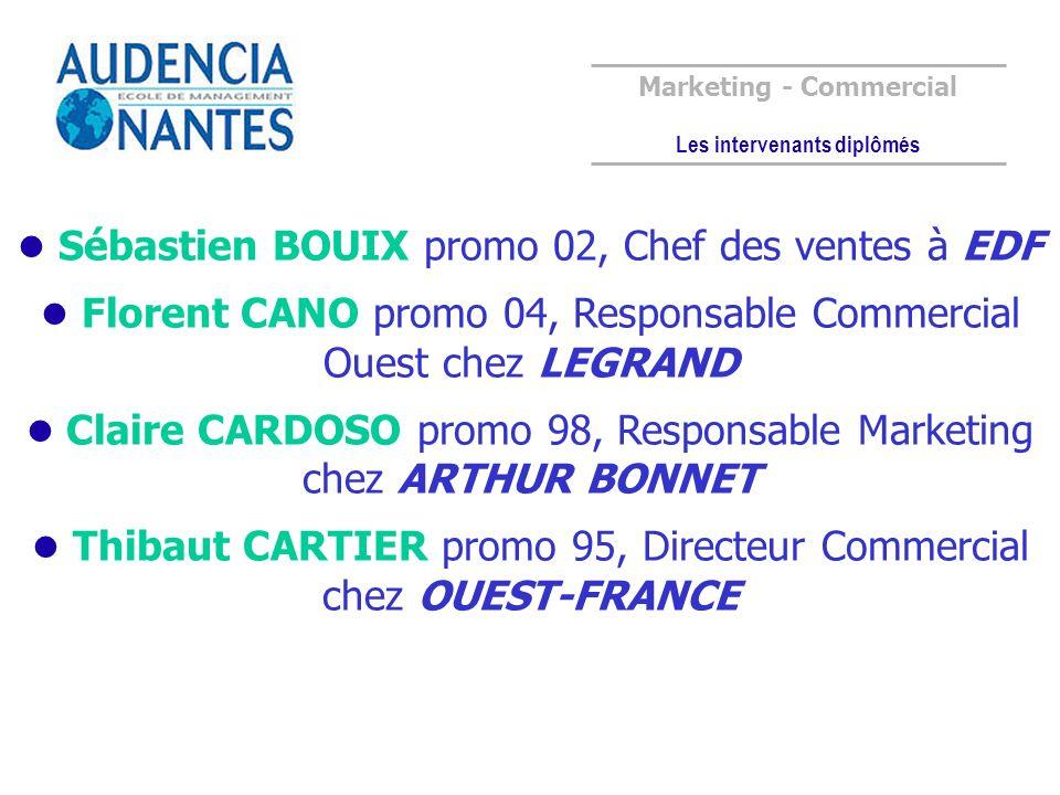 Marketing - Commercial Les intervenants diplômés Sébastien BOUIX promo 02, Chef des ventes à EDF Florent CANO promo 04, Responsable Commercial Ouest c
