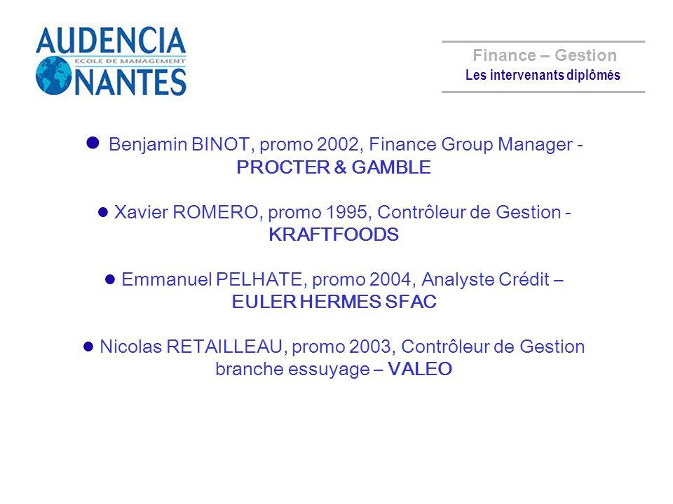 Benjamin BINOT, promo 2002, Finance Group Manager - PROCTER & GAMBLE Xavier ROMERO, promo 1995, Contrôleur de Gestion - KRAFTFOODS Emmanuel PELHATE, p