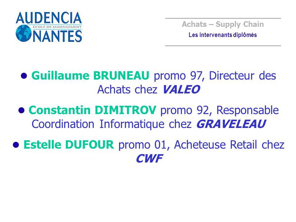 Guillaume BRUNEAU promo 97, Directeur des Achats chez VALEO Constantin DIMITROV promo 92, Responsable Coordination Informatique chez GRAVELEAU Estelle