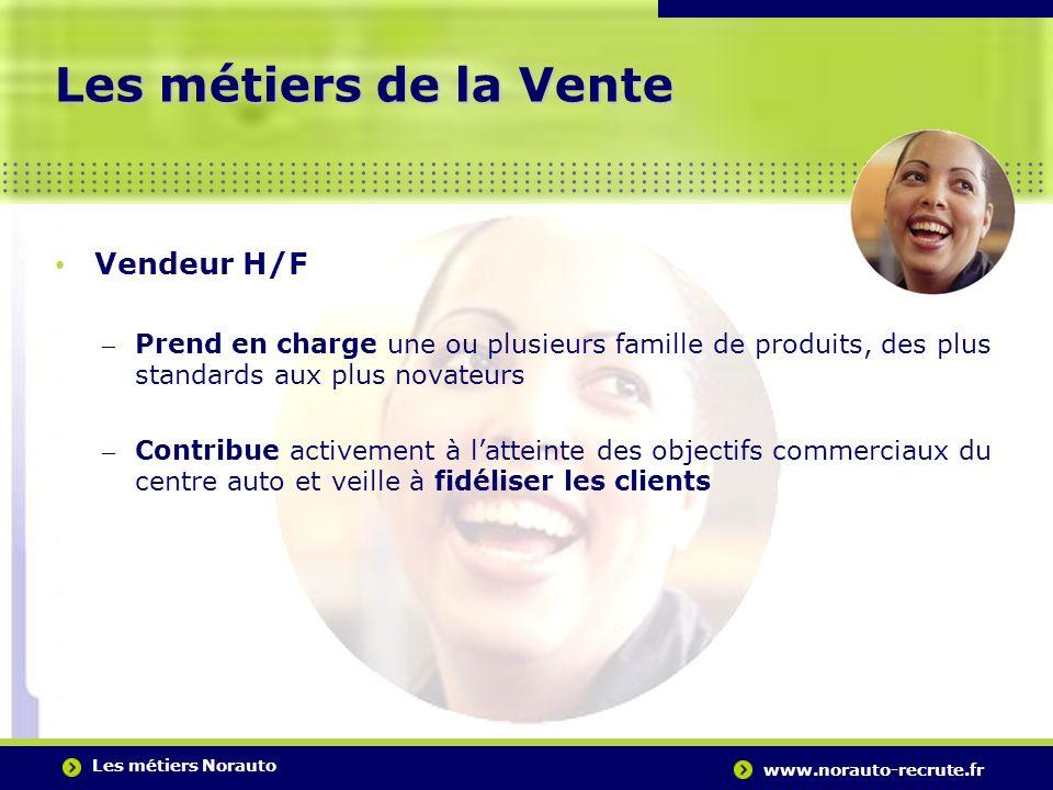 Les métiers Norauto www.norauto-recrute.fr..….…………………………………………………………………………. Les métiers de la Vente Vendeur H/F – Prend en charge une ou plusieurs fam