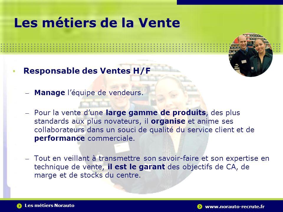 Les métiers Norauto www.norauto-recrute.fr..….…………………………………………………………………………. Les métiers de la Vente Responsable des Ventes H/F – Manage léquipe de ven