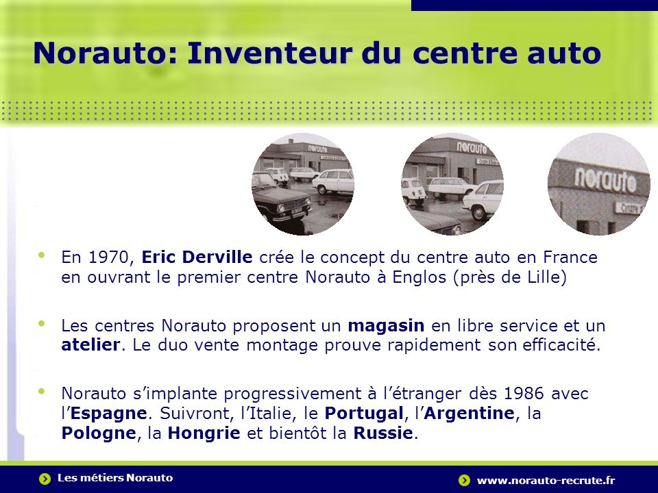 Les métiers Norauto www.norauto-recrute.fr..….…………………………………………………………………………. Norauto: Inventeur du centre auto En 1970, Eric Derville crée le concept d