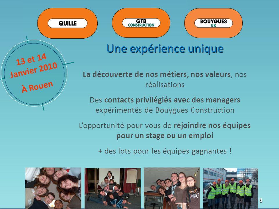 8 Une expérience unique La découverte de nos métiers, nos valeurs, nos réalisations Des contacts privilégiés avec des managers expérimentés de Bouygue