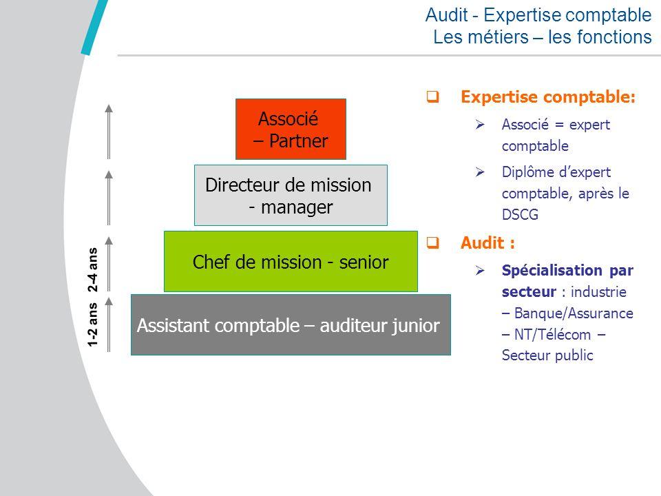 Audit - Expertise comptable Les métiers – les fonctions Assistant comptable – auditeur junior Chef de mission - senior Directeur de mission - manager