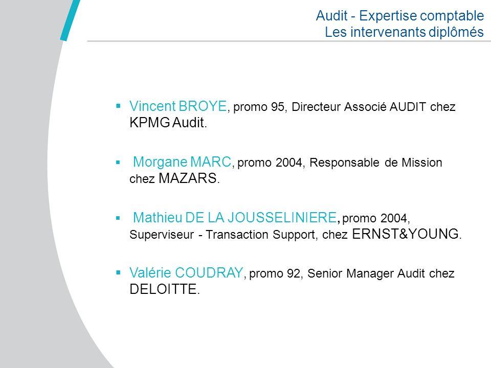 Audit - Expertise comptable Les intervenants diplômés Vincent BROYE, promo 95, Directeur Associé AUDIT chez KPMG Audit. Morgane MARC, promo 2004, Resp