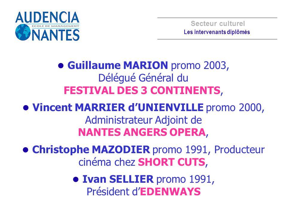 Guillaume MARION promo 2003, Délégué Général du FESTIVAL DES 3 CONTINENTS, Vincent MARRIER dUNIENVILLE promo 2000, Administrateur Adjoint de NANTES AN