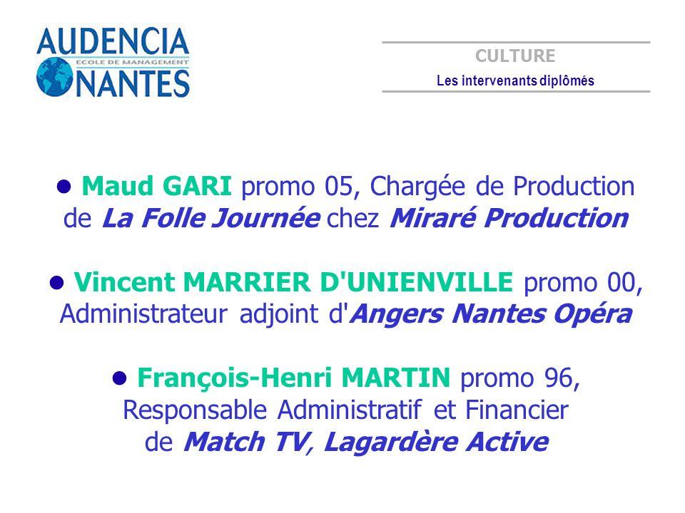 Maud GARI promo 05, Chargée de Production de La Folle Journée chez Miraré Production Vincent MARRIER D'UNIENVILLE promo 00, Administrateur adjoint d'A