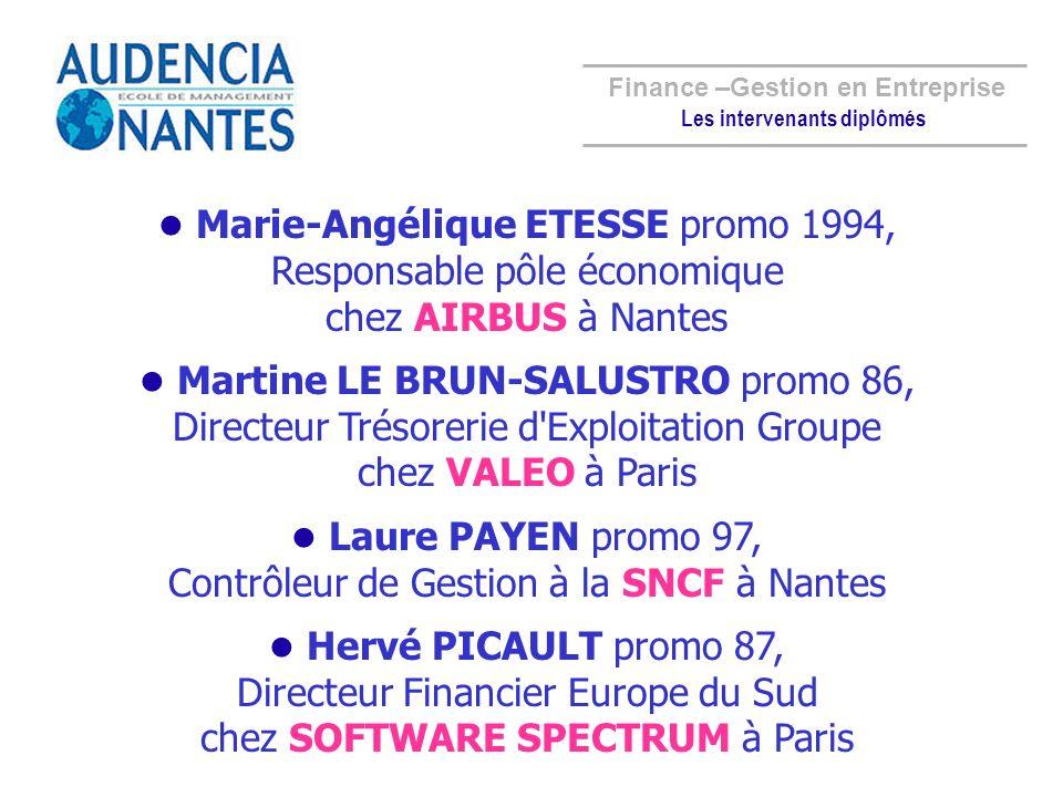 Marie-Angélique ETESSE promo 1994, Responsable pôle économique chez AIRBUS à Nantes Martine LE BRUN-SALUSTRO promo 86, Directeur Trésorerie d'Exploita