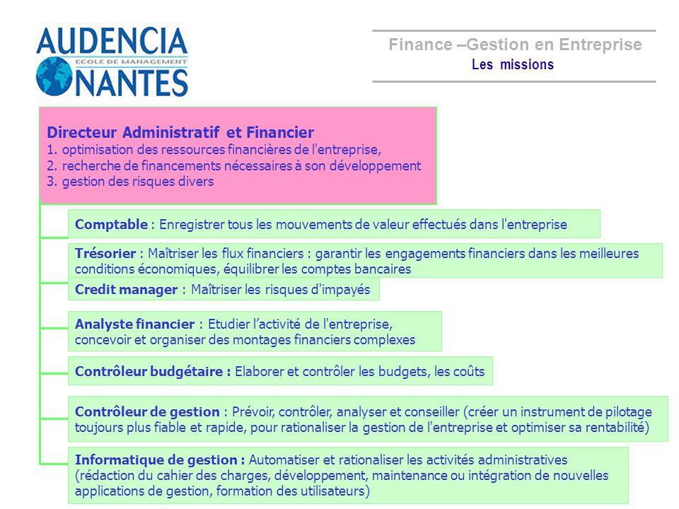 Directeur Administratif et Financier Comptable Trésorier Credit manager Analyste financier Contrôleur budgétaire Contrôleur de gestion Informatique de