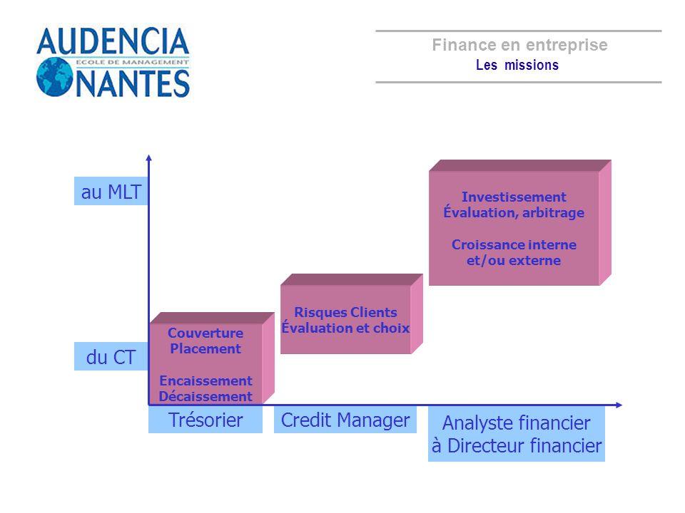 TrésorierCredit Manager Analyste financier à Directeur financier Couverture Placement Encaissement Décaissement Risques Clients Évaluation et choix In