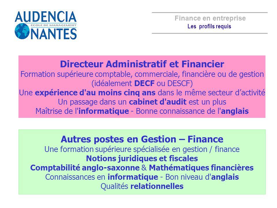 Directeur Administratif et Financier Formation supérieure comptable, commerciale, financière ou de gestion (idéalement DECF ou DESCF) Une expérience d