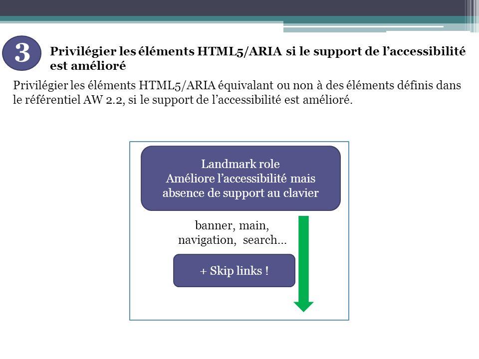 Privilégier les éléments HTML5/ARIA si le support de laccessibilité est amélioré 3 Privilégier les éléments HTML5/ARIA équivalant ou non à des éléments définis dans le référentiel AW 2.2, si le support de laccessibilité est amélioré.