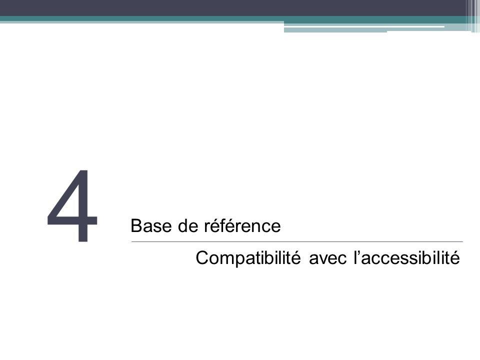 4 Base de référence Compatibilité avec laccessibilité