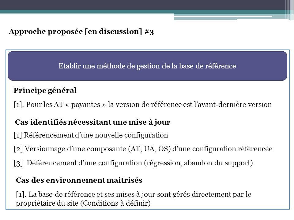 Approche proposée [en discussion] #3 Etablir une méthode de gestion de la base de référence [1].
