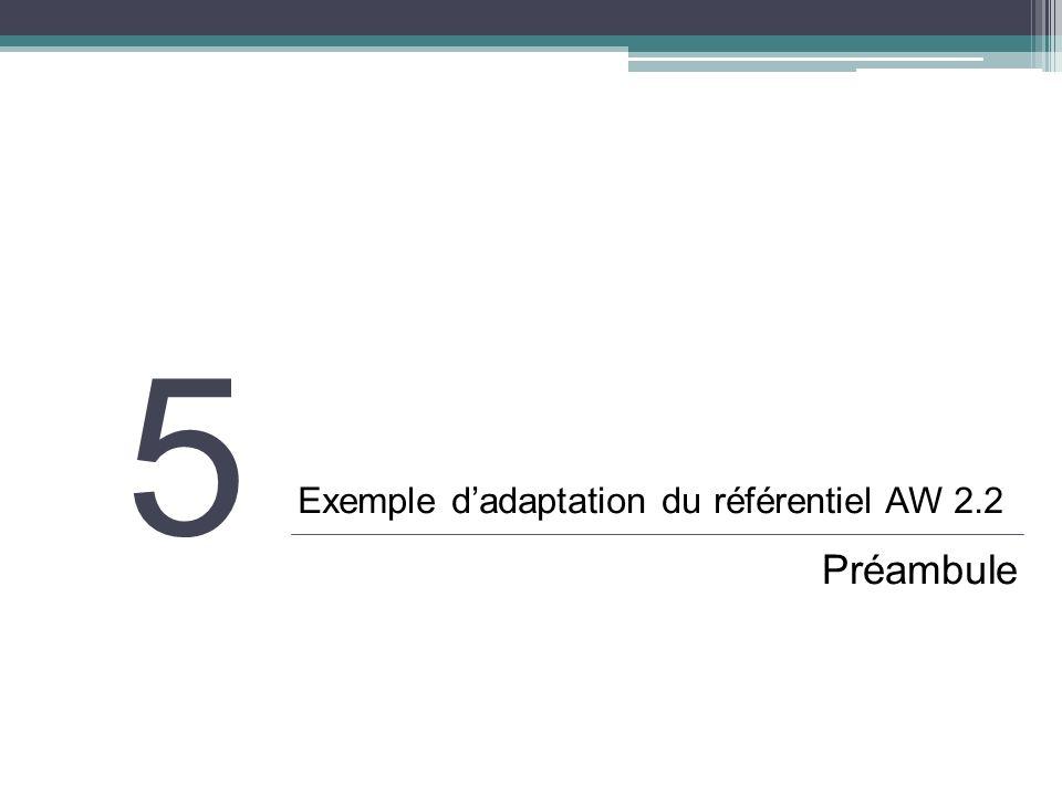 Exemple dadaptation : préambule Objectif Fournir aux producteurs de contenus toutes les adaptations « connues » issues de : Spécifications Etat de lart Résultat de tests Moyens Suppression, ajout, modification dun critère, dun test, dune condition… Ajout de notes techniques et/ou de cas particuliers permettant de préciser des aspects techniques particuliers