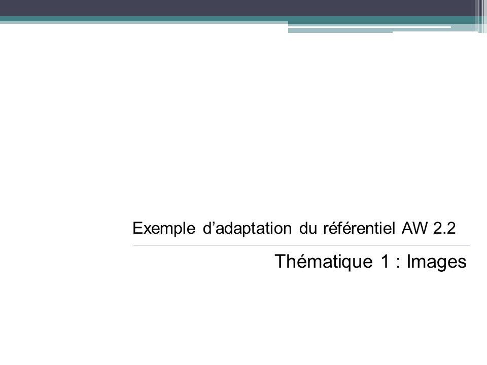 Exemple dadaptation du référentiel AW 2.2 Thématique 1 : Images