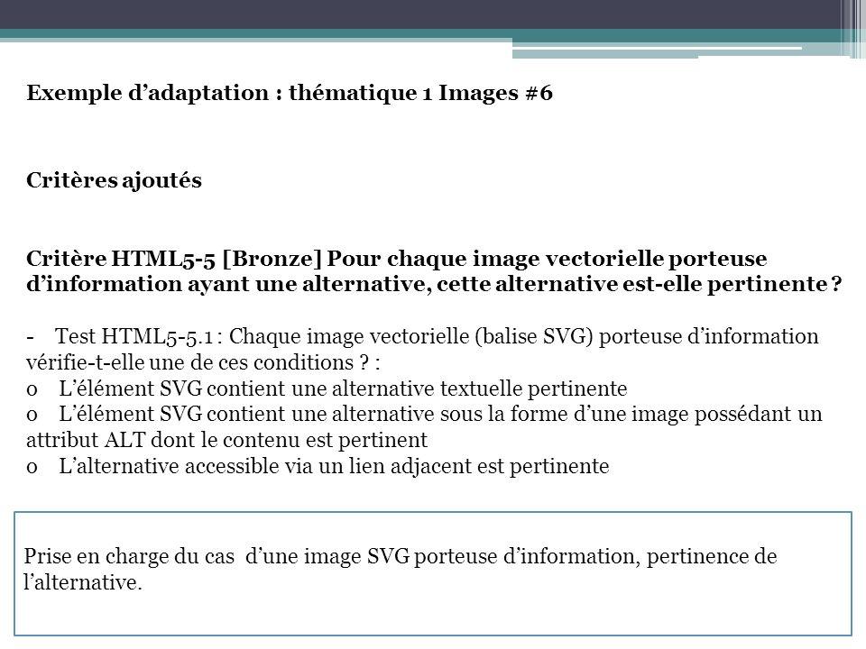 Exemple dadaptation : thématique 1 Images #7 Notes techniques Note 1 : Pour créer une légende HTML5/ARIA propose lutilisation dun attribut TITLE sur une image de décoration ou une image porteuse dinformation.