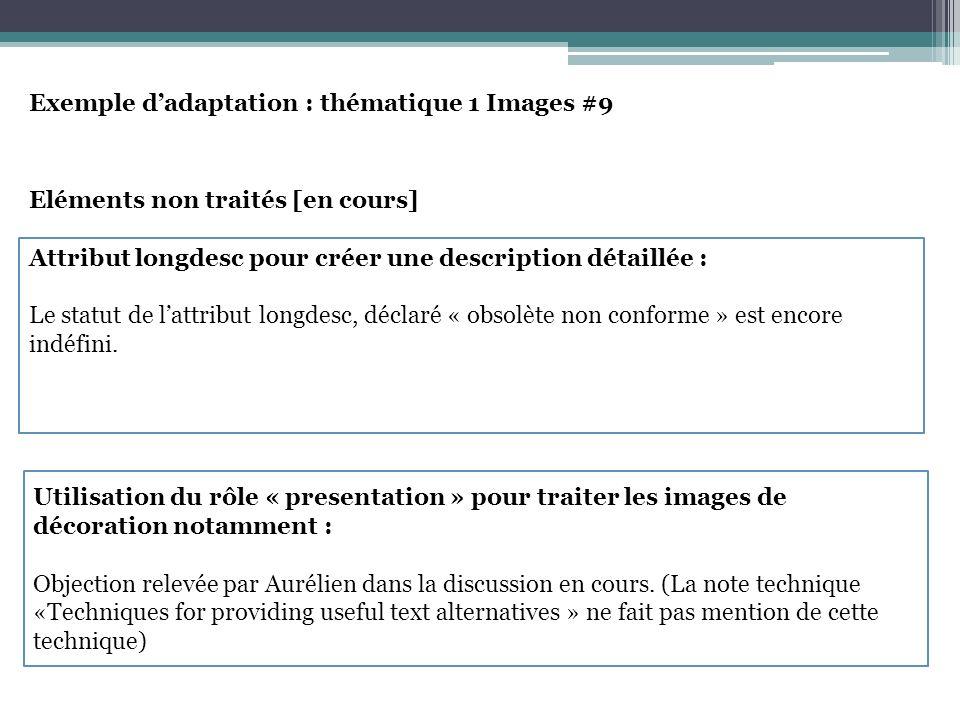 Exemple dadaptation : thématique 1 Images #9 Eléments non traités [en cours] Attribut longdesc pour créer une description détaillée : Le statut de lattribut longdesc, déclaré « obsolète non conforme » est encore indéfini.