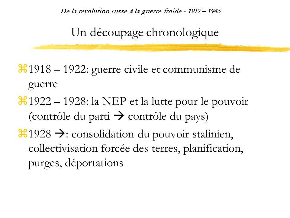 Un découpage chronologique 1918 – 1922: guerre civile et communisme de guerre 1922 – 1928: la NEP et la lutte pour le pouvoir (contrôle du parti contr