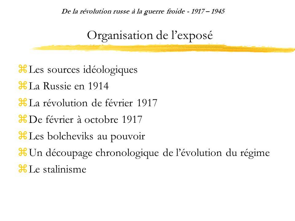 Organisation de lexposé Les sources idéologiques La Russie en 1914 La révolution de février 1917 De février à octobre 1917 Les bolcheviks au pouvoir U