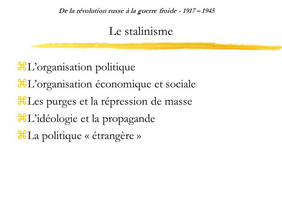 Le stalinisme Lorganisation politique Lorganisation économique et sociale Les purges et la répression de masse Lidéologie et la propagande La politiqu