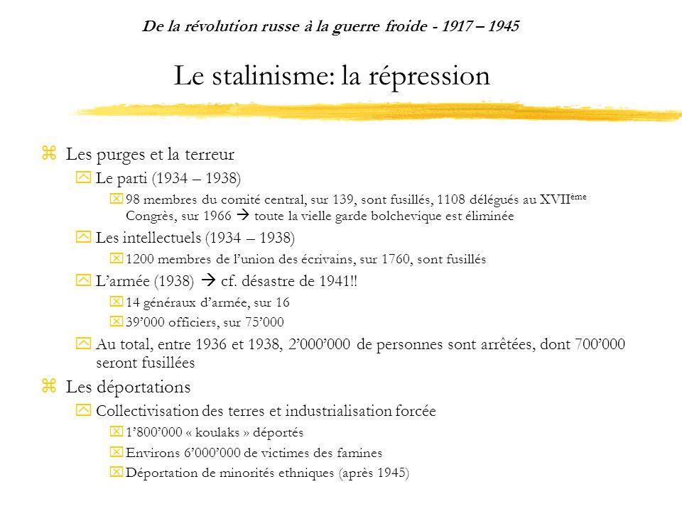 Le stalinisme: la répression Les purges et la terreur Le parti (1934 – 1938) 98 membres du comité central, sur 139, sont fusillés, 1108 délégués au XV