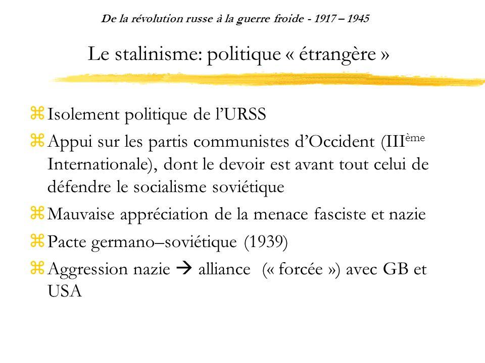 Le stalinisme: politique « étrangère » Isolement politique de lURSS Appui sur les partis communistes dOccident (III ème Internationale), dont le devoi