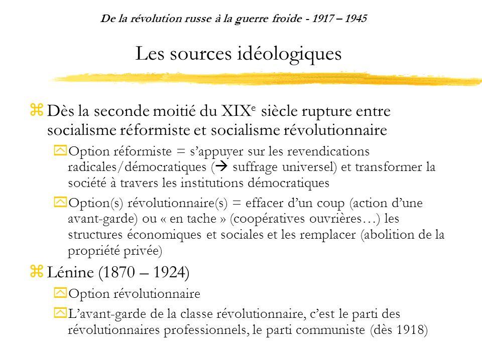 Les sources idéologiques Dès la seconde moitié du XIX e siècle rupture entre socialisme réformiste et socialisme révolutionnaire Option réformiste = s