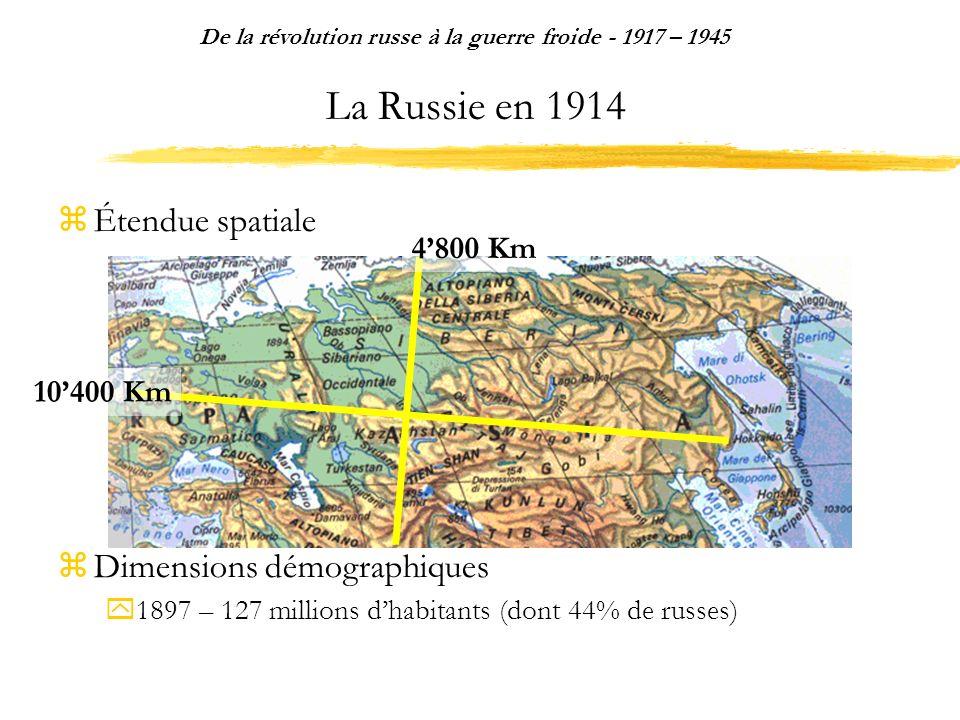 La Russie en 1914 Étendue spatiale Dimensions démographiques 1897 – 127 millions dhabitants (dont 44% de russes) De la révolution russe à la guerre froide - 1917 – 1945 10400 Km 4800 Km