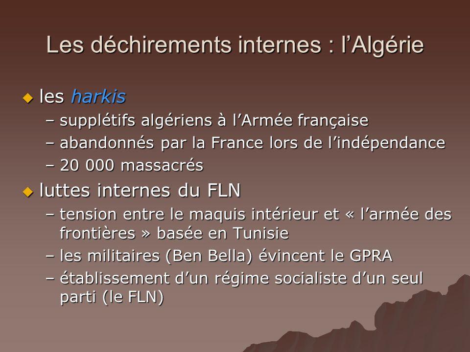 Les déchirements internes : lAlgérie les harkis les harkis –supplétifs algériens à lArmée française –abandonnés par la France lors de lindépendance –2