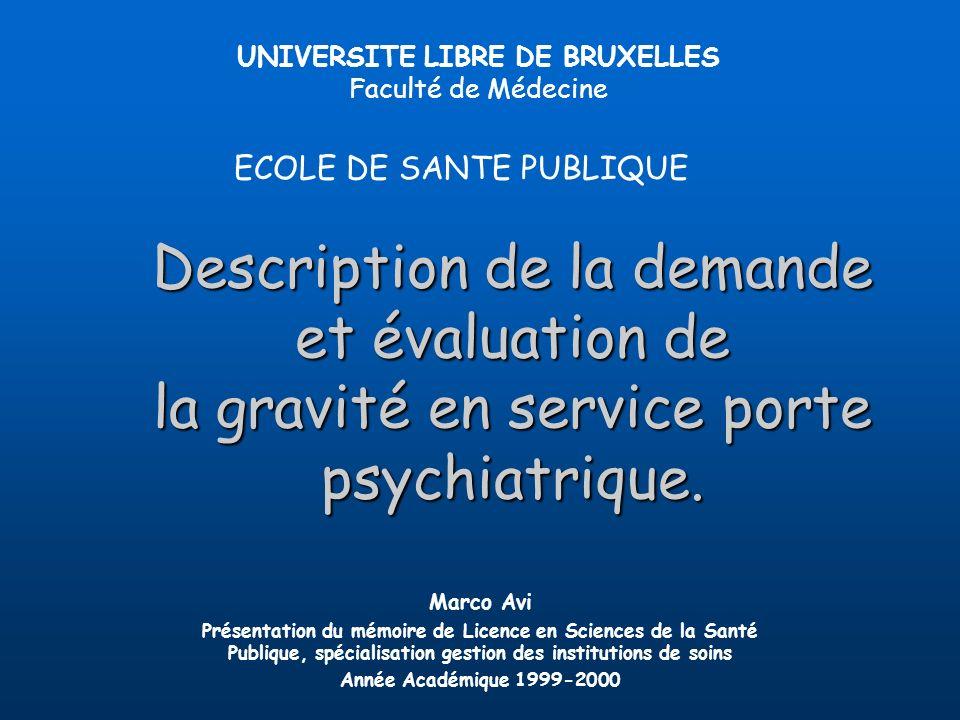 Description de la demande et évaluation de la gravité en service porte psychiatrique. UNIVERSITE LIBRE DE BRUXELLES Faculté de Médecine ECOLE DE SANTE