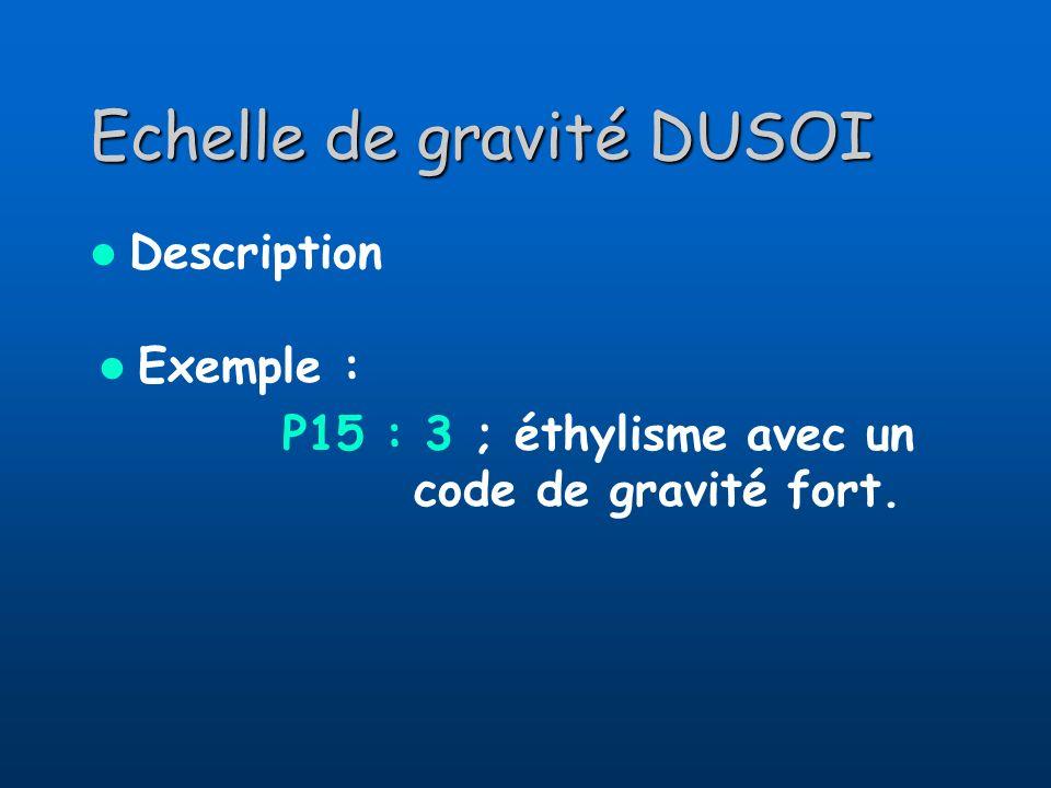 Echelle de gravité DUSOI Description Exemple : P15 : 3 ; éthylisme avec un code de gravité fort.