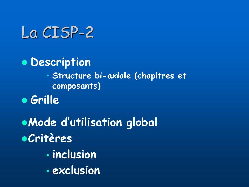 La CISP-2 Description Structure bi-axiale (chapitres et composants) Grille Mode dutilisation global Critères inclusion exclusion