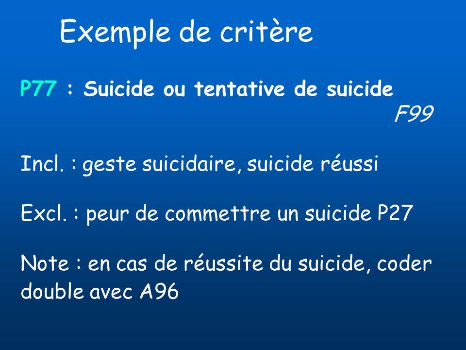 P77 : Suicide ou tentative de suicide F99 Incl. : geste suicidaire, suicide réussi Excl. : peur de commettre un suicide P27 Note : en cas de réussite