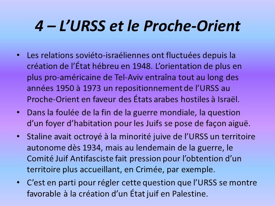 4 – LURSS et le Proche-Orient Les relations soviéto-israéliennes ont fluctuées depuis la création de lÉtat hébreu en 1948. Lorientation de plus en plu