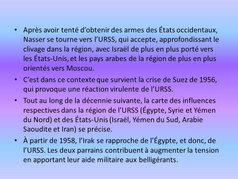 Après avoir tenté dobtenir des armes des États occidentaux, Nasser se tourne vers lURSS, qui accepte, approfondissant le clivage dans la région, avec